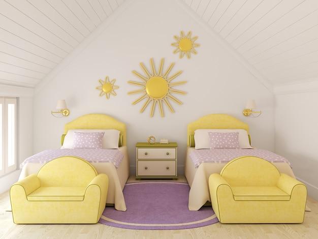 Interior da creche para duas crianças. renderização 3d.