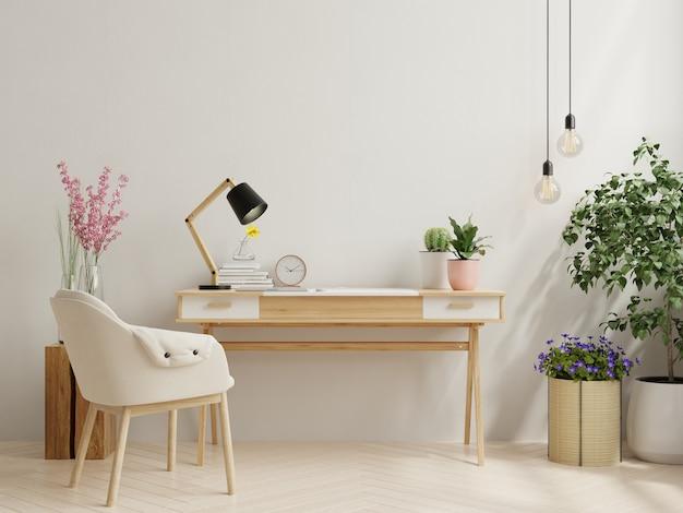 Interior da mesa de escritório com parede branca, renderização em 3d