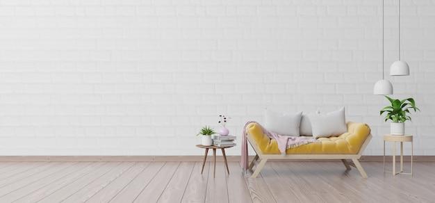 Interior da moderna sala de estar com sofá e plantas verdes, lâmpada, mesa na parede branca