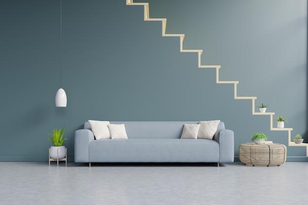 Interior da moderna sala de estar com sofá e plantas verdes, lâmpada, mesa na parede verde escura