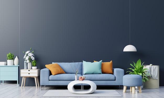 Interior da moderna sala de estar com sofá e plantas verdes, lâmpada, mesa no fundo da parede escura.