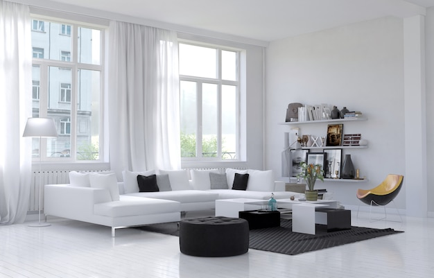 Interior da moderna sala de estar com sofá e plantas verdes