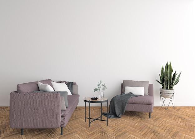 Interior da moderna sala de estar com sofá, fundo de parede em branco