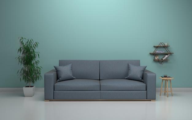 Interior da moderna sala de estar com sofá - sofá e mesa