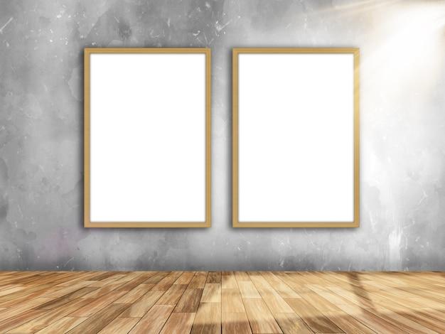 Interior da sala 3d com molduras em branco na parede com luz brilhando da direita