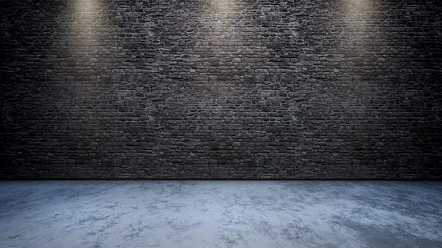 Interior da sala 3d com parede de tijolos com holofotes brilhando