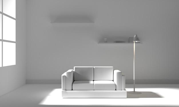 Interior da sala branca com mobília. ilustração 3d