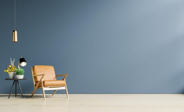 Interior da sala clara com poltrona de couro na parede vazia de azul escuro e piso de madeira, renderização em 3d