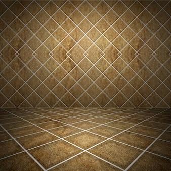 Interior da sala com fundo de parede de tijolo
