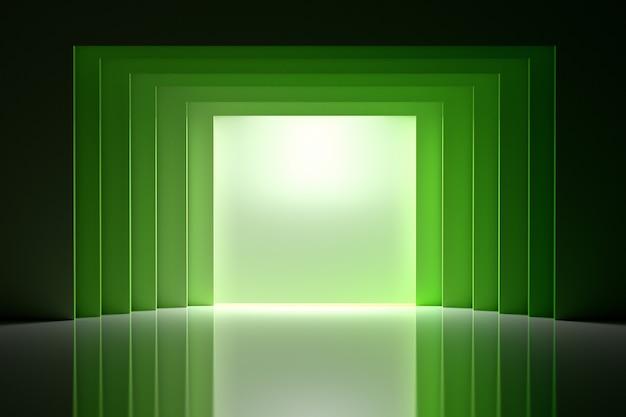 Interior da sala com túnel e tela nos verdes sobre a superfície reflexiva brilhante.