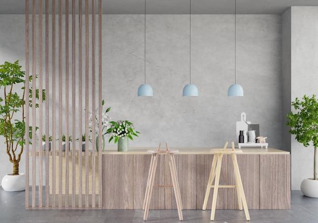 Interior da sala cozinha moderna, sala de restaurante moderno, interior moderno café