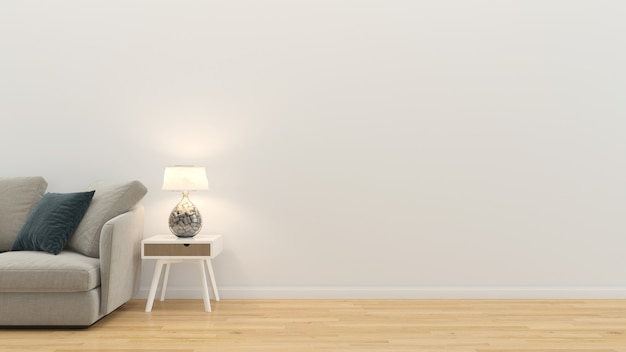Interior da sala de estar 3d rendem o modelo de madeira da parede do assoalho de madeira da tabela do sofá