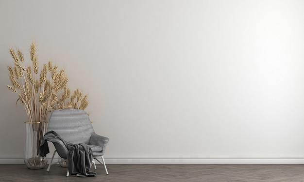 Interior da sala de estar cinza branco com mesa de chá, decoração. 3d render ilustração mock up