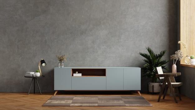 Interior da sala de estar com armário para tv em sala de cimento com parede de concreto