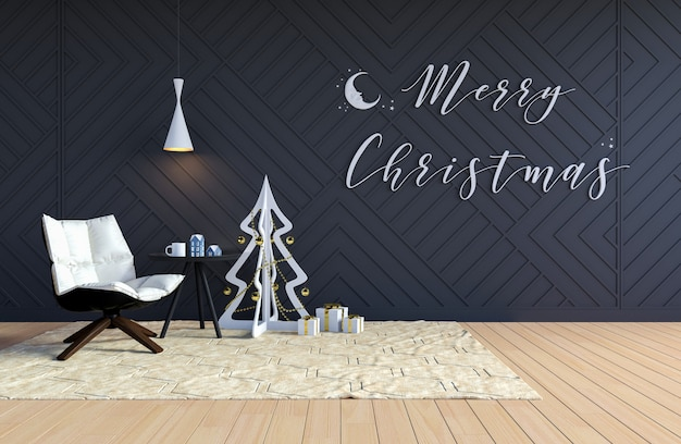 Interior da sala de estar com árvore de natal e palavra de feliz natal na parede
