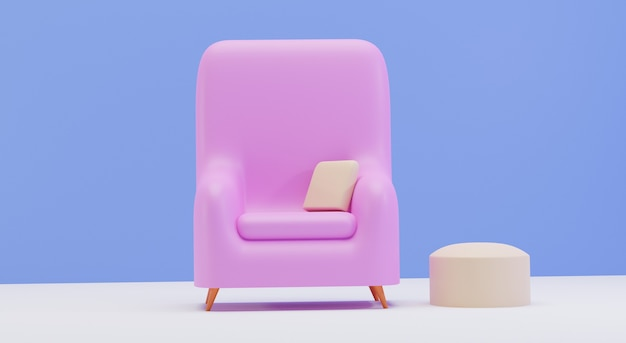 Interior da sala de estar com cadeira individual isolada