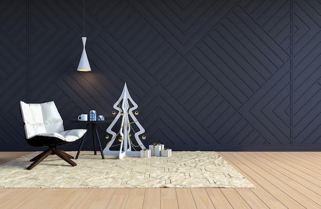 Interior da sala de estar com parede preta e branca árvore de natal para as férias de natal