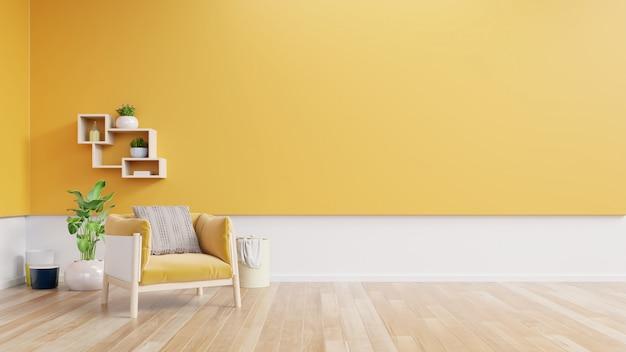 Interior da sala de estar com poltrona de tecido amarelo, lâmpada, livro e plantas na parede amarela vazia.