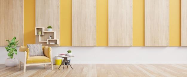 Interior da sala de estar com poltrona de tecido amarelo, livro e plantas na parede amarela vazia.