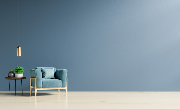 Interior da sala de estar com poltrona e armário de veludo azul.
