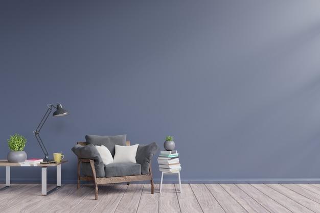 Interior da sala de estar com poltrona escura, plantas, lâmpada, mesa, no fundo da parede escura vazia
