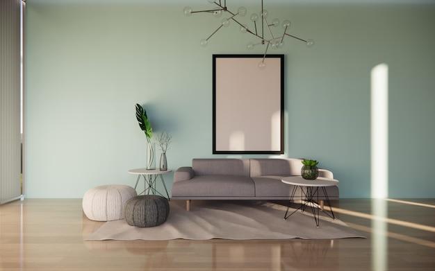 Interior da sala de estar com pôsteres na parede tosca