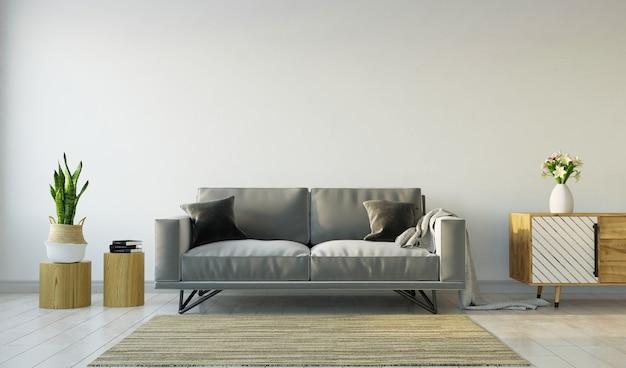 Interior da sala de estar com sofá cinza no fundo cinza da parede, renderização em 3d