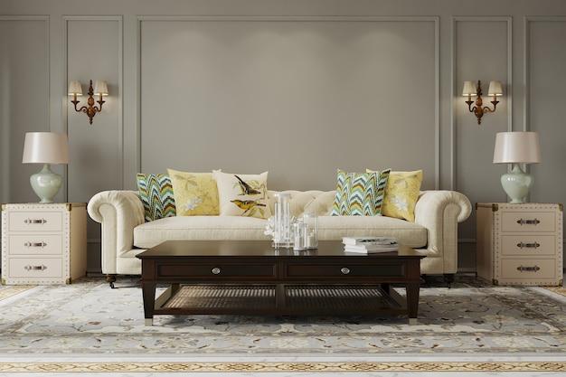 Interior da sala de estar com sofá e mesa