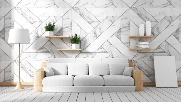 Interior da sala de estar com sofá e plantas em fundo de parede de granito, desenhos mínimos, 3d r