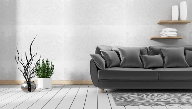 Interior da sala de estar com sofá e plantas verdes, sofá no fundo da parede de concreto