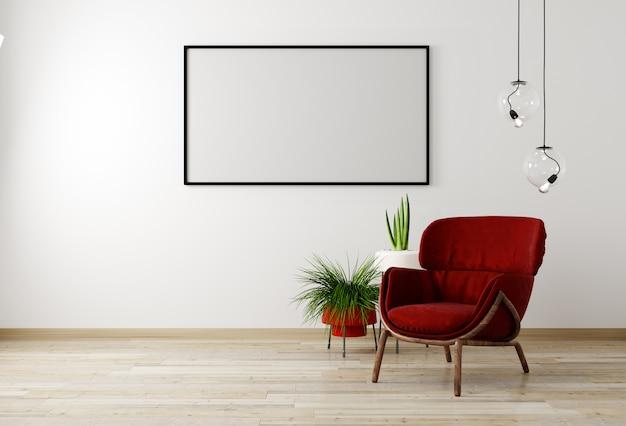 Interior da sala de estar de maquete com poltrona vermelha e flor, parede branca mock-se fundo, renderização em 3d