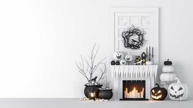 Interior da sala de estar decorado com lanternas e abóboras de halloween, jack-o-lantern, para festa de halloween