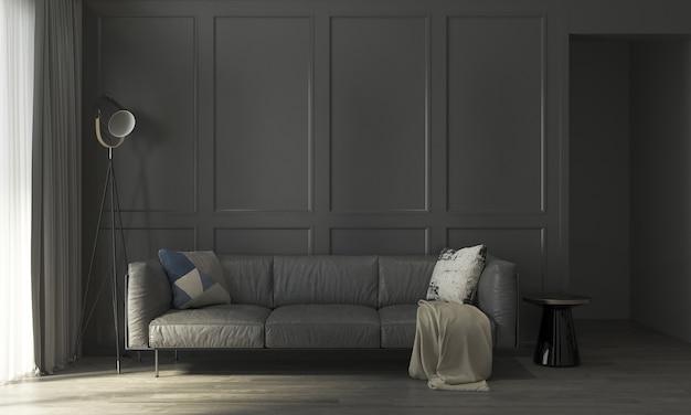 Interior da sala de estar e fundo preto vazio de parede padrão