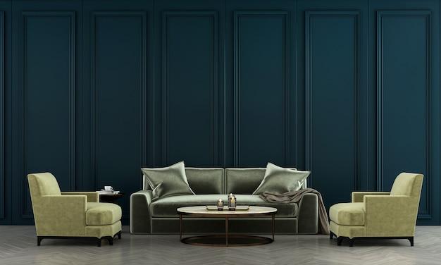 Interior da sala de estar e sofá verde e fundo azul padrão de parede