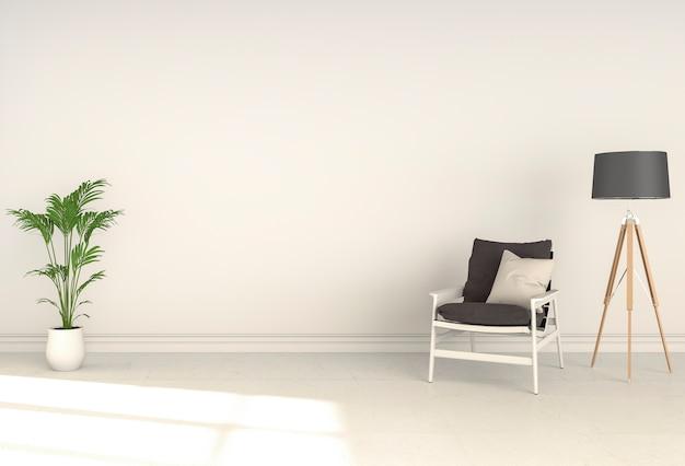 Interior da sala de estar em estilo moderno, render 3d