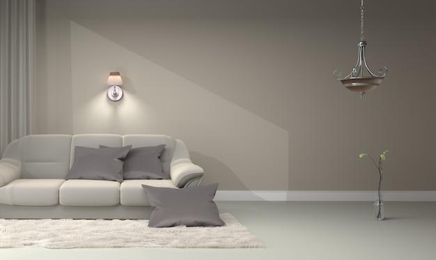 Interior da sala de estar - luxo contemporâneo moderno. renderização 3d