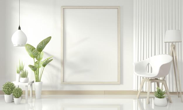 Interior da sala de estar moderna branca. renderização em 3d