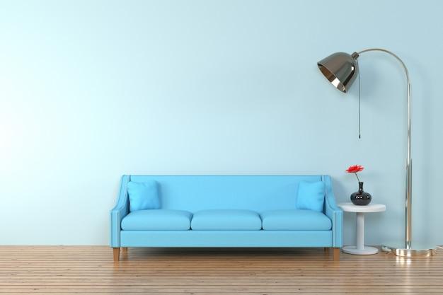 Interior da sala de estar. sofá macio e travesseiro perto da lâmpada macia