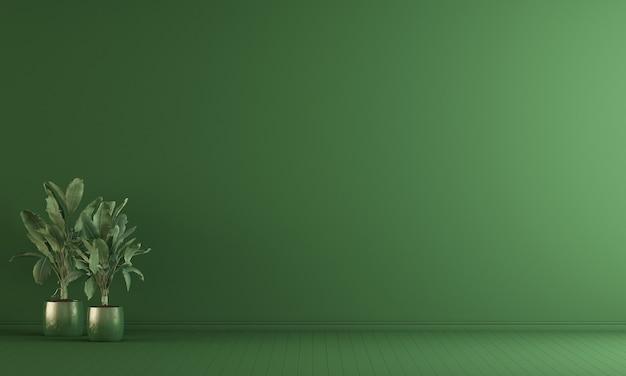 Interior da sala de estar vazia e fundo verde padrão de parede