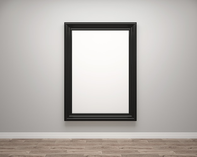 Interior da sala de galeria de arte com moldura em branco ou moldura de arte