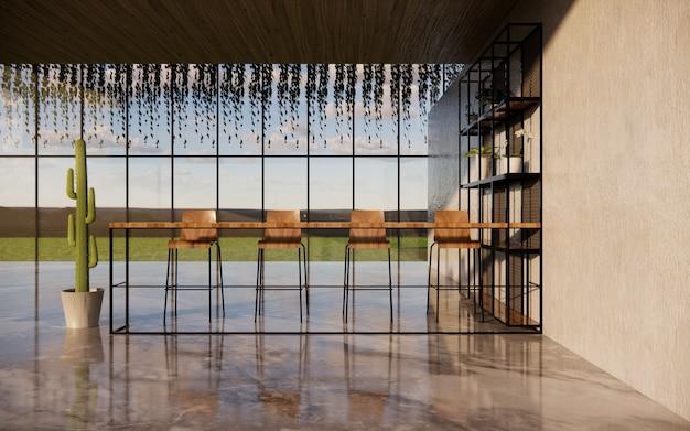 Interior da sala de jantar com cadeira de madeira