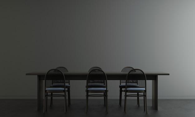 Interior da sala de jantar e fundo preto padrão de parede