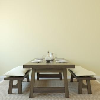 Interior da sala de jantar. estilo sertanejo. renderização 3d.