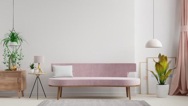 Interior da sala de luz com sofá na parede branca vazia, renderização em 3d