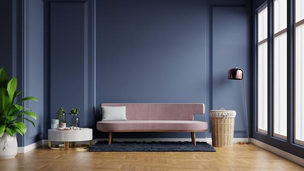 Interior da sala de luz com sofá no fundo vazio da parede azul escura, renderização em 3d