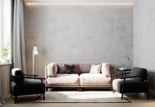 Interior da sala de luz, maquete do interior da sala de estar com cadeira preta, parede cinza vazia, renderização em 3d