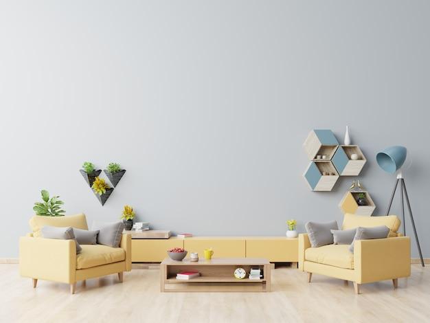 Interior da sala de visitas com poltrona amarela, mesa de centro de madeira no revestimento de madeira e parede azul.