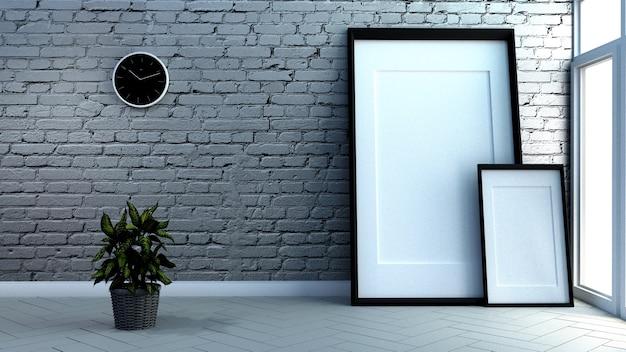 Interior da sala do sótão, parede de tijolo e fundo de madeira branco do assoalho. renderização 3d