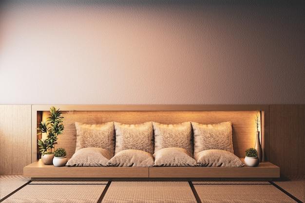 Interior da sala ryokan com sofá de madeira no design da parede de luz escondida. renderização 3d