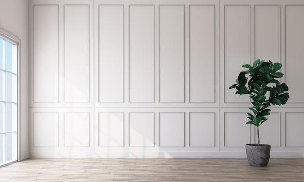Interior da sala vazia com paredes brancas padrão retangular e uma renderização 3d de piso de madeira clara